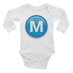 Emoji Baby Long Sleeve One Piece - Circled Capital Letter M-Just Emoji