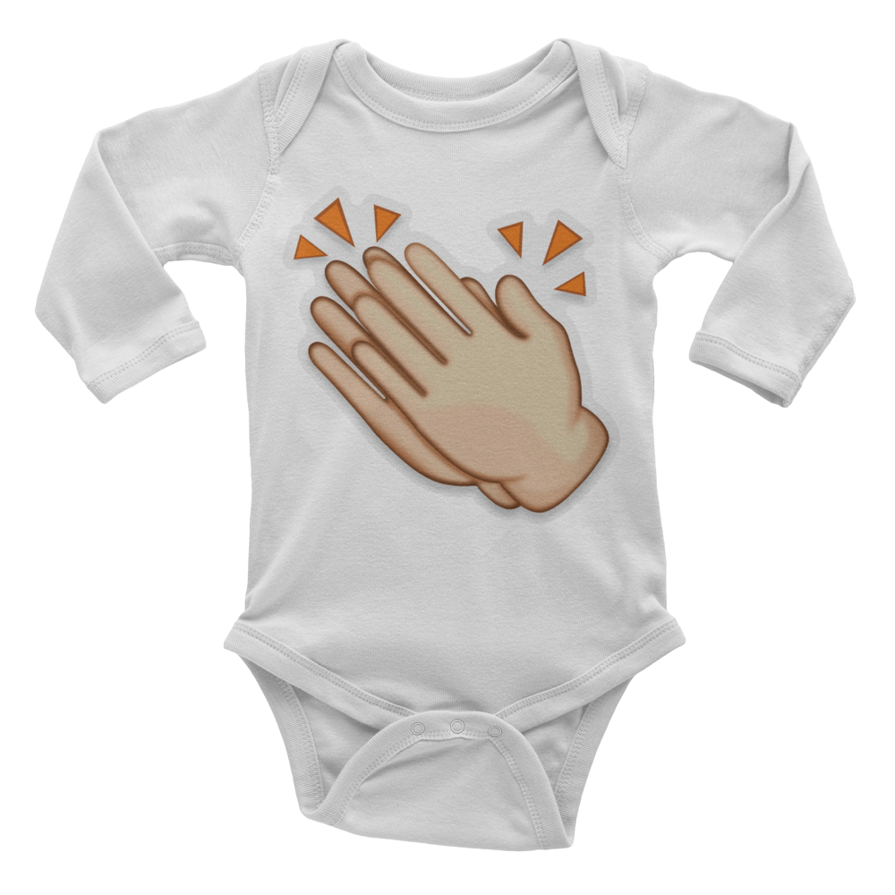 Emoji Baby Long Sleeve One Piece - Clapping Hands Sign-Just Emoji
