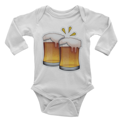 Emoji Baby Long Sleeve One Piece - Clinking Beer Mugs-Just Emoji