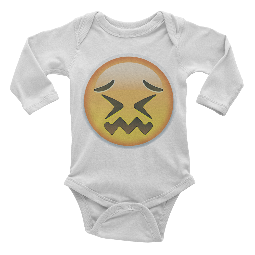 Emoji Baby Long Sleeve One Piece - Confounded Face-Just Emoji
