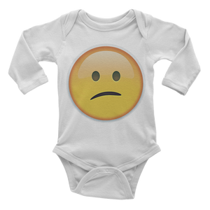 Emoji Baby Long Sleeve One Piece - Confused Face-Just Emoji