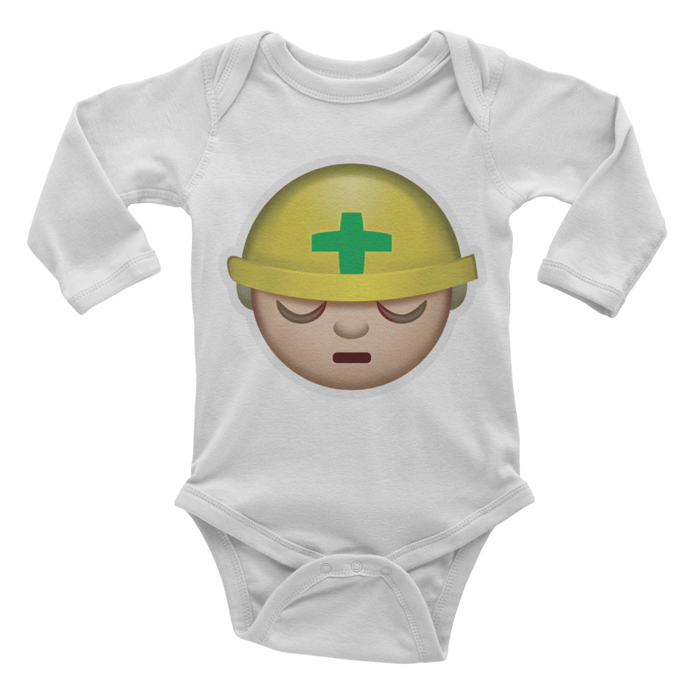 Emoji Baby Long Sleeve One Piece - Construction Worker-Just Emoji