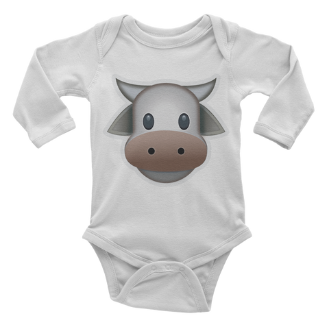 Emoji Baby Long Sleeve One Piece - Cow Face-Just Emoji