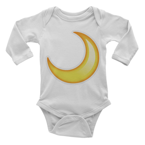 Emoji Baby Long Sleeve One Piece - Crescent Moon-Just Emoji