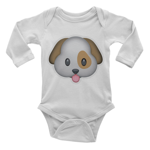 Emoji Baby Long Sleeve One Piece - Dog Face-Just Emoji