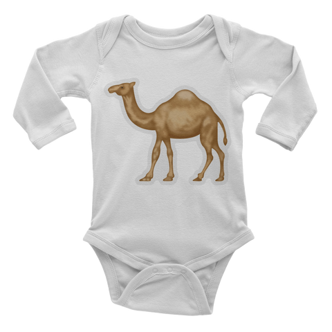 Emoji Baby Long Sleeve One Piece - Dromedary Camel-Just Emoji
