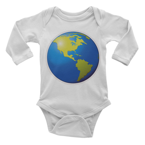 Emoji Baby Long Sleeve One Piece - Earth Globe Americas-Just Emoji
