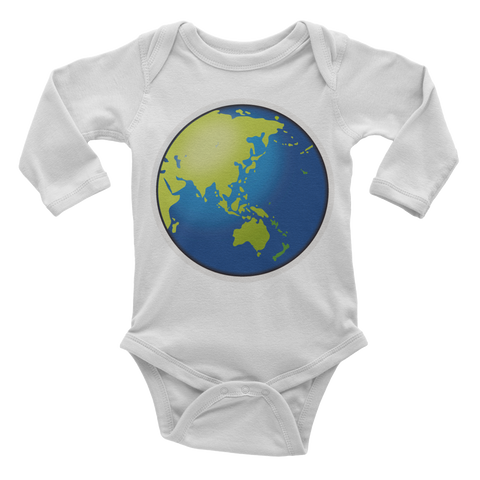 Emoji Baby Long Sleeve One Piece - Earth Globe Asia Australia-Just Emoji