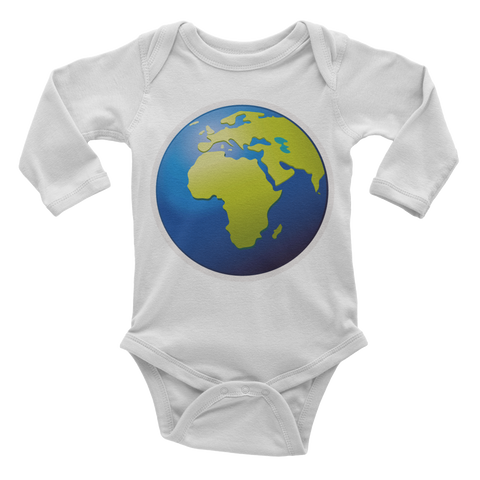 Emoji Baby Long Sleeve One Piece - Earth Globe Europe Africa-Just Emoji