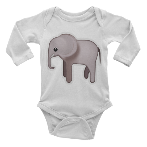 Emoji Baby Long Sleeve One Piece - Elephant-Just Emoji