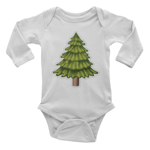 Emoji Baby Long Sleeve One Piece - Evergreen Tree-Just Emoji