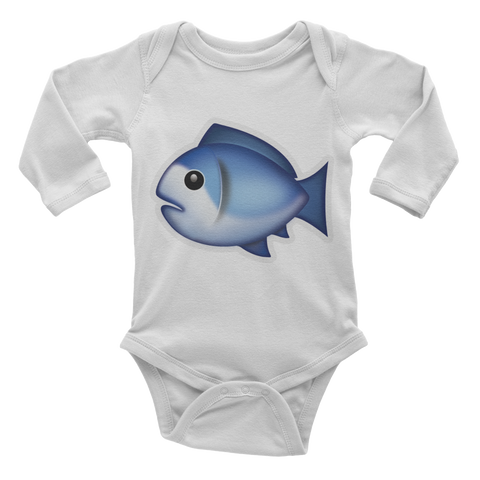 Emoji Baby Long Sleeve One Piece - Fish-Just Emoji