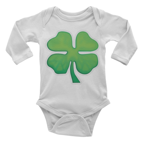 Emoji Baby Long Sleeve One Piece - Four Leaf Clover-Just Emoji