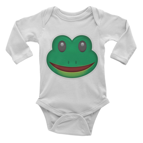 Emoji Baby Long Sleeve One Piece - Frog Face-Just Emoji