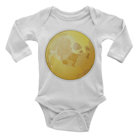 Emoji Baby Long Sleeve One Piece - Full Moon Symbol-Just Emoji
