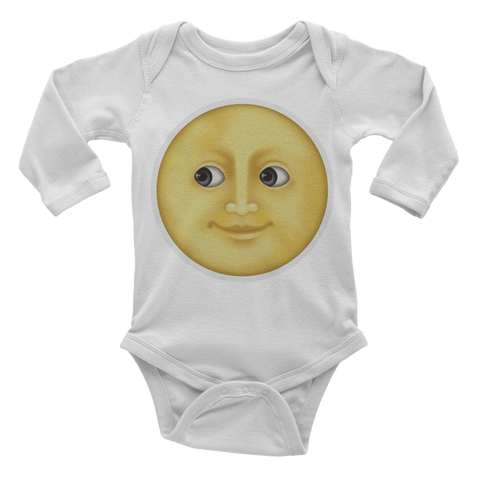 Emoji Baby Long Sleeve One Piece - Full Moon With Face-Just Emoji