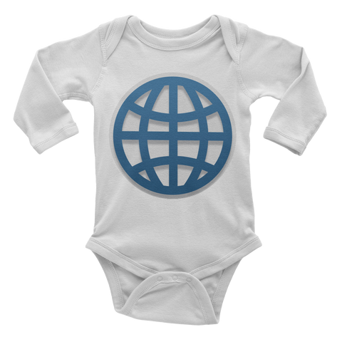 Emoji Baby Long Sleeve One Piece - Globe With Meridians-Just Emoji