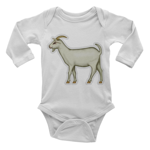 Emoji Baby Long Sleeve One Piece - Goat-Just Emoji