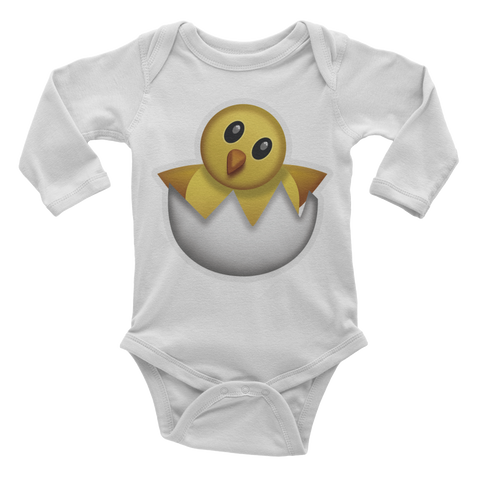 Emoji Baby Long Sleeve One Piece - Hatching Chick-Just Emoji