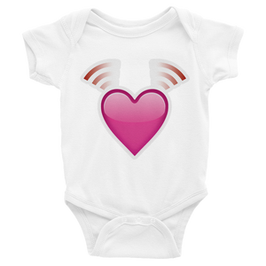 Emoji Baby Short Sleeve One Piece - Beating Heart-Just Emoji