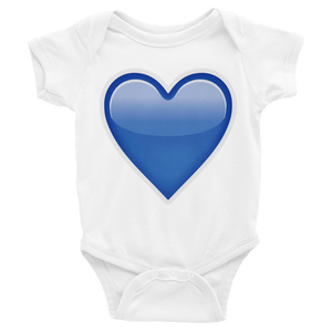 Emoji Baby Short Sleeve One Piece - Blue Heart-Just Emoji