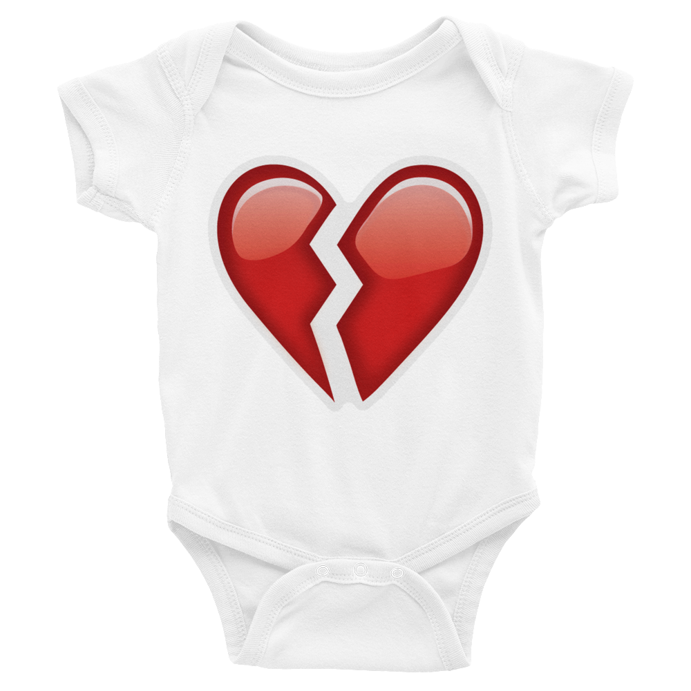 Emoji Baby Short Sleeve One Piece - Broken Heart-Just Emoji
