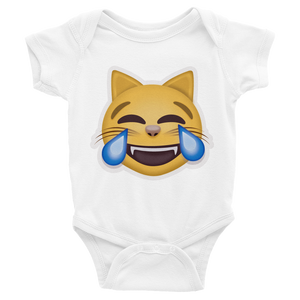 Emoji Baby Short Sleeve One Piece - Cat Face With Tears Of Joy-Just Emoji