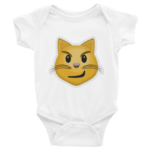Emoji Baby Short Sleeve One Piece - Cat Face With Wry Smile-Just Emoji