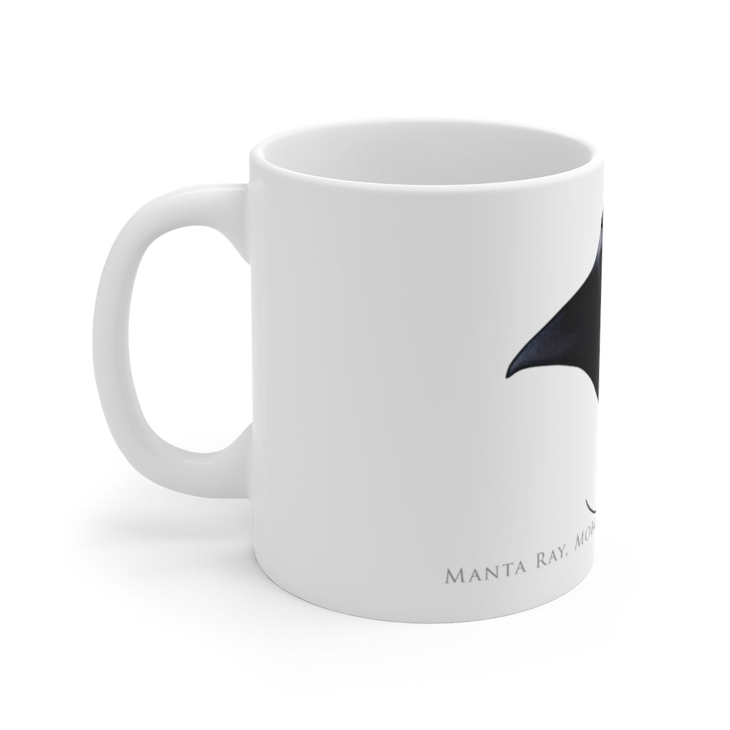 Manta Ray Mug - Stick Figure Fish Illustration
