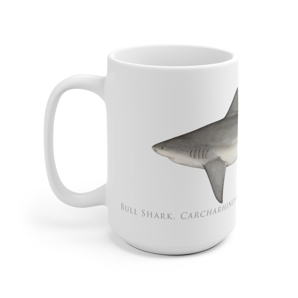 Bull Shark Mug - Stick Figure Fish Illustration