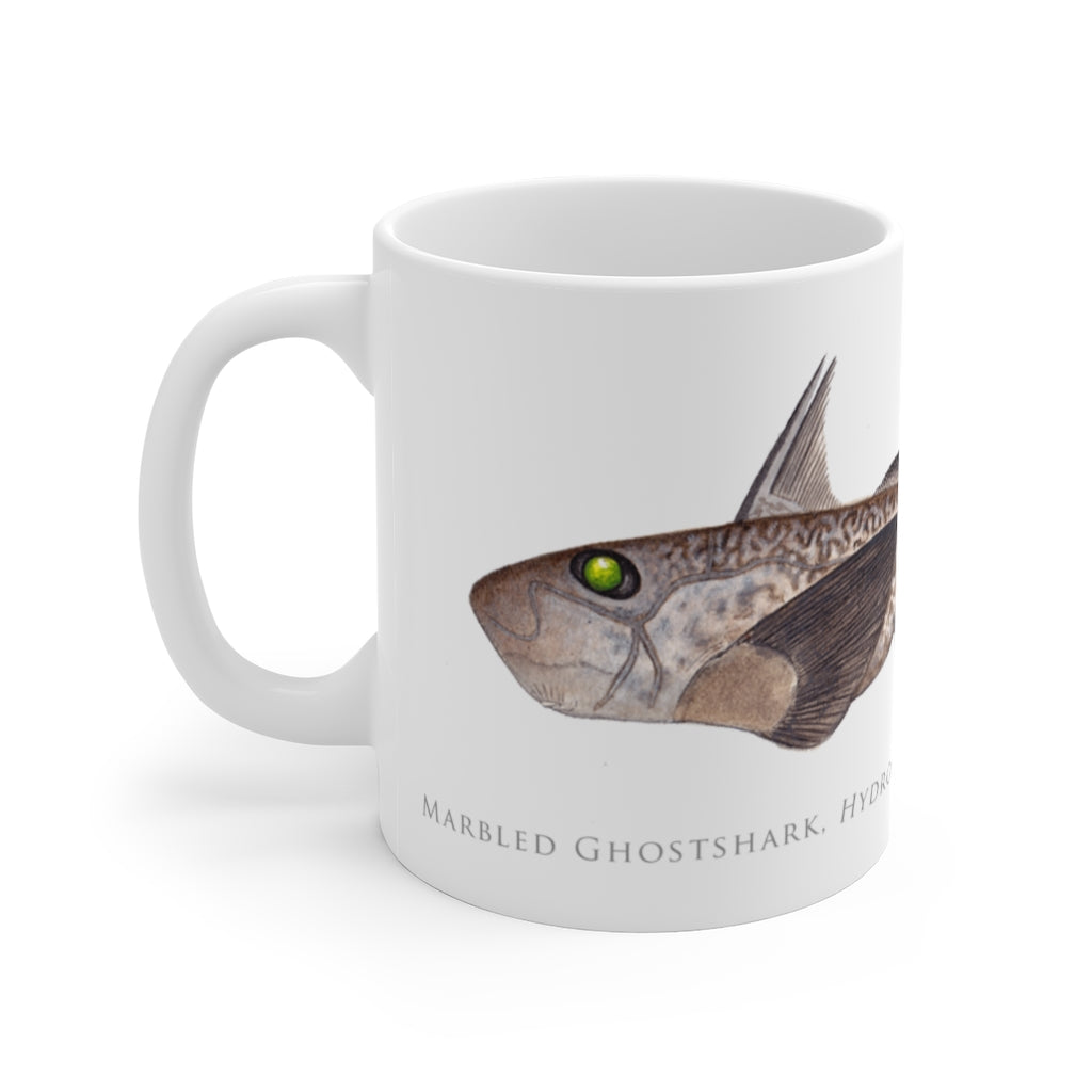 Marbled Ghostshark Mug - Stick Figure Fish Illustration