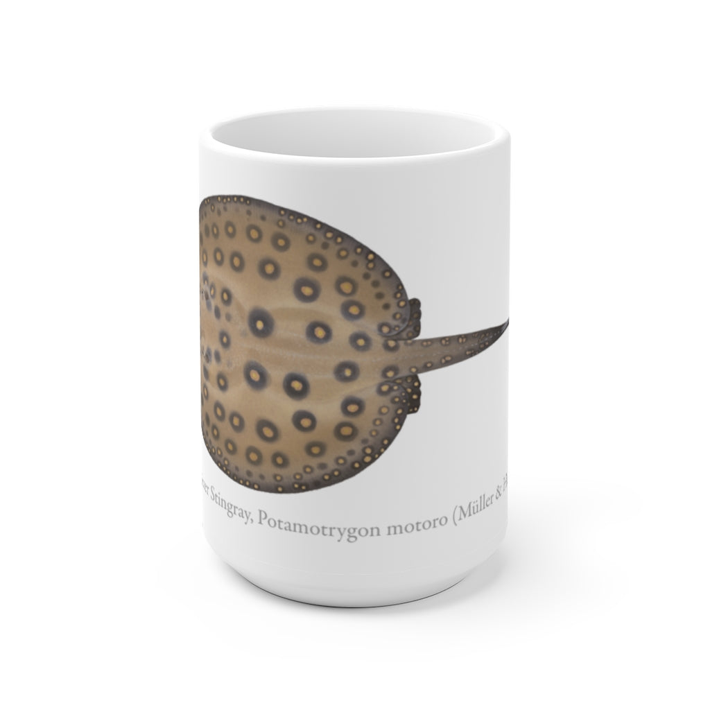 Ocellate River Stingray Mug - Stick Figure Fish Illustration