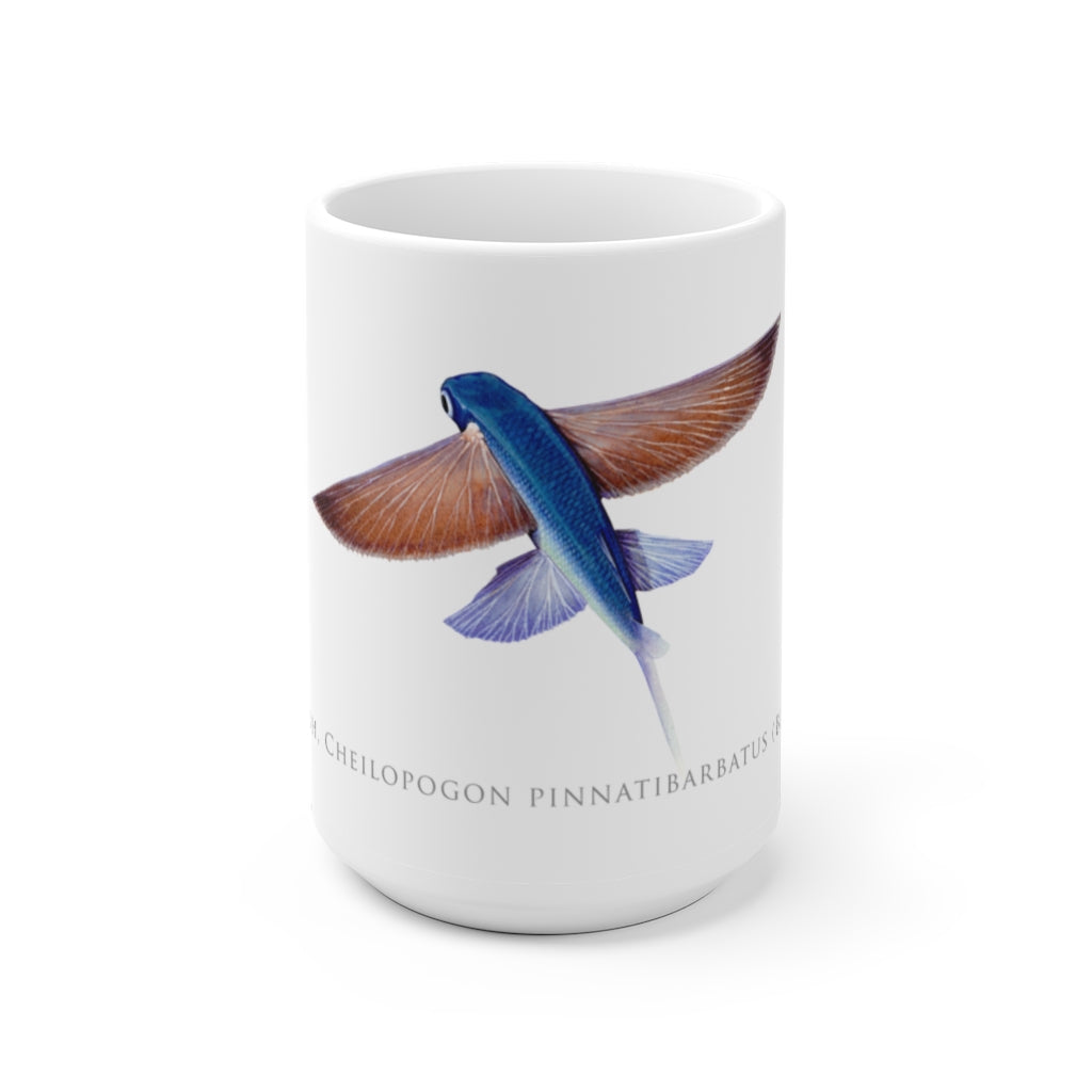 Tallfin Flyingfish Mug - Stick Figure Fish Illustration