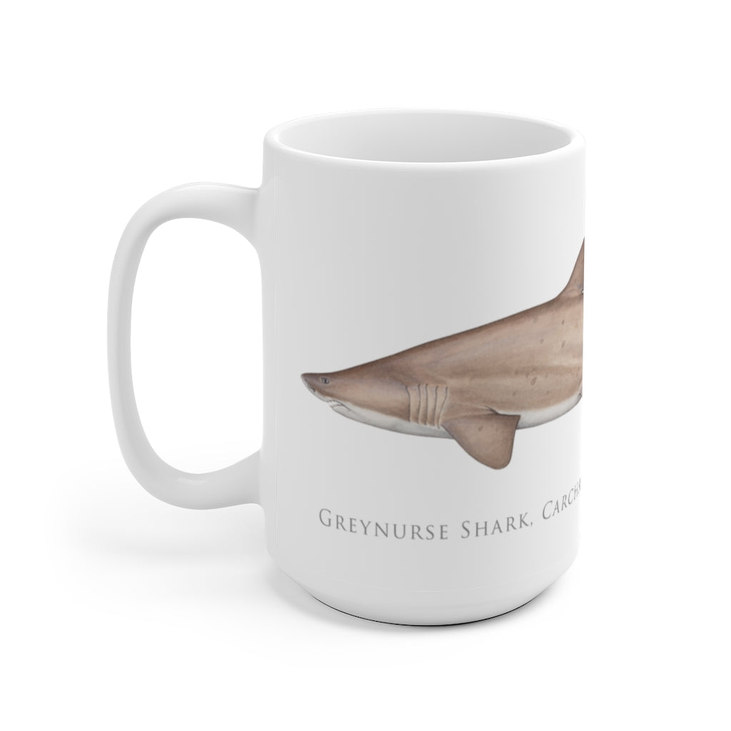 Greynurse Shark Mug - Stick Figure Fish Illustration