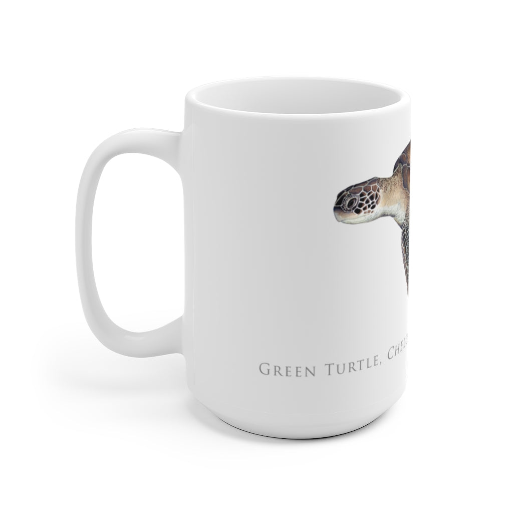 Green Turtle Mug - Stick Figure Fish Illustration