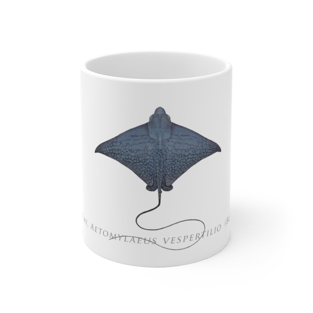 Ornate Eagle Ray Mug - Stick Figure Fish Illustration