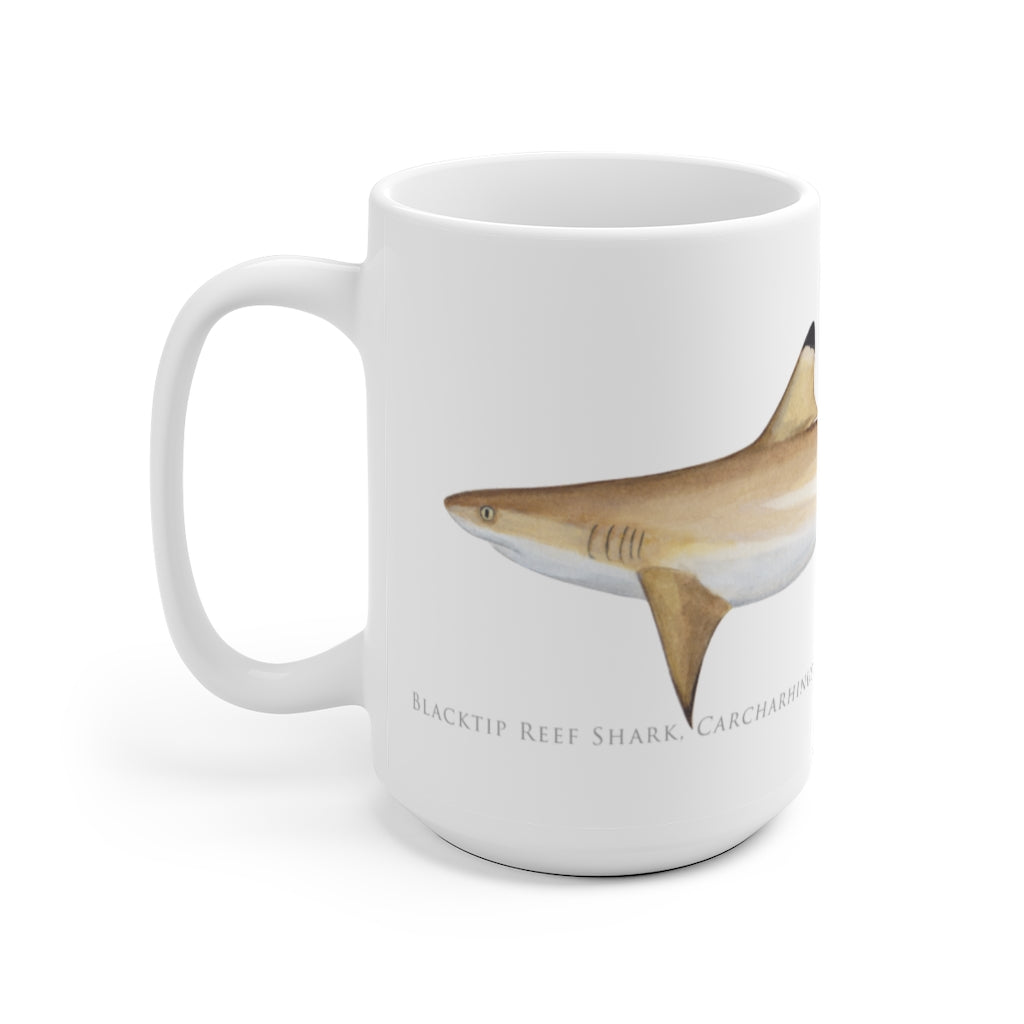 Blacktip Reef Shark Mug - Stick Figure Fish Illustration