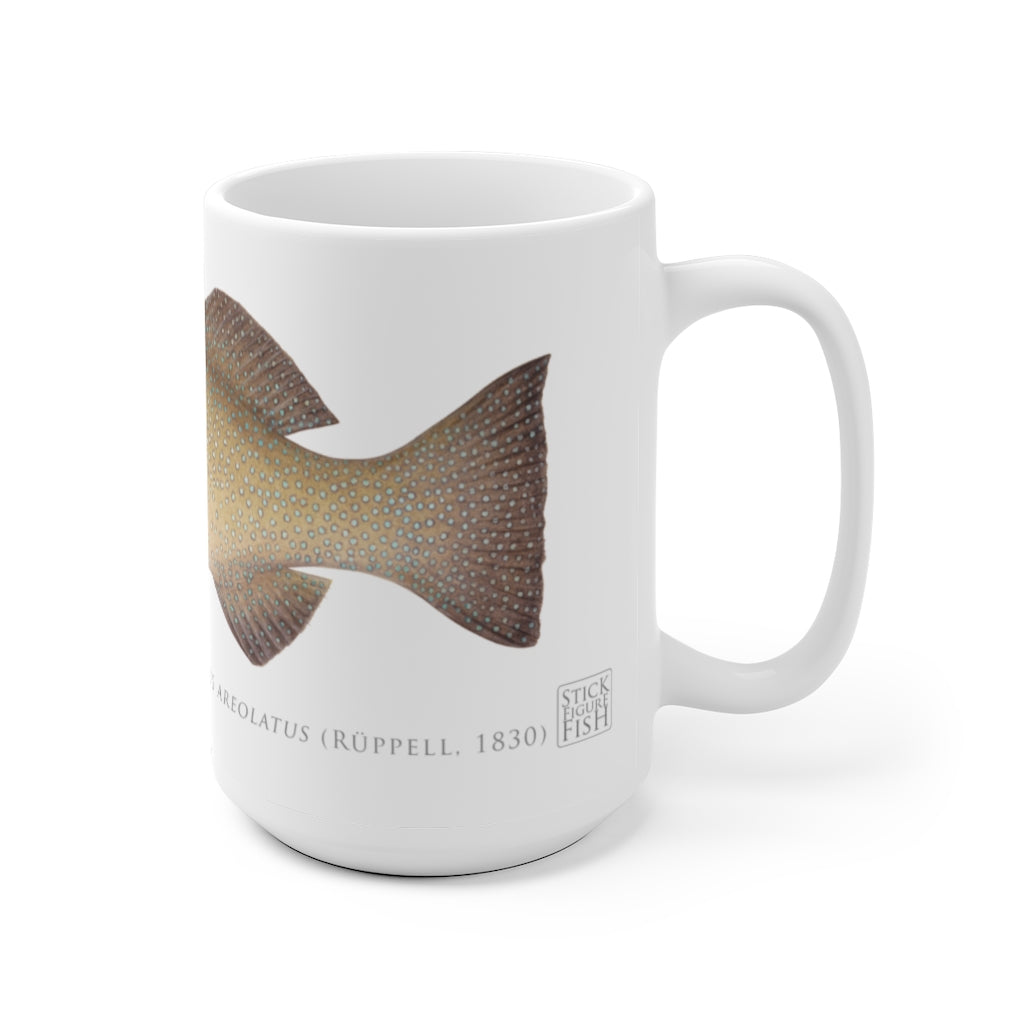 Passionfruit Coral Trout Mug - Stick Figure Fish Illustration