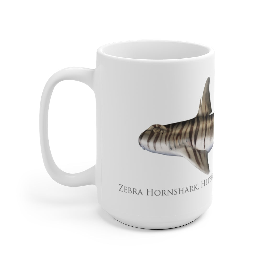 Zebra Hornshark Mug - Stick Figure Fish Illustration