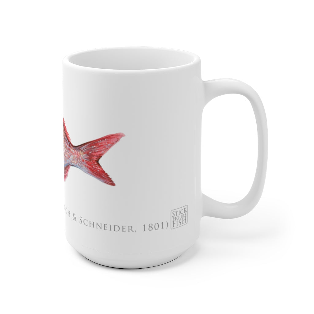 Pink Snapper Mug - Stick Figure Fish Illustration