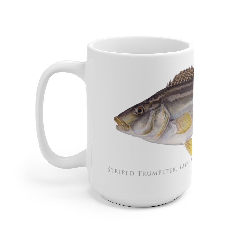 Striped Trumpeter Mug - Stick Figure Fish Illustration