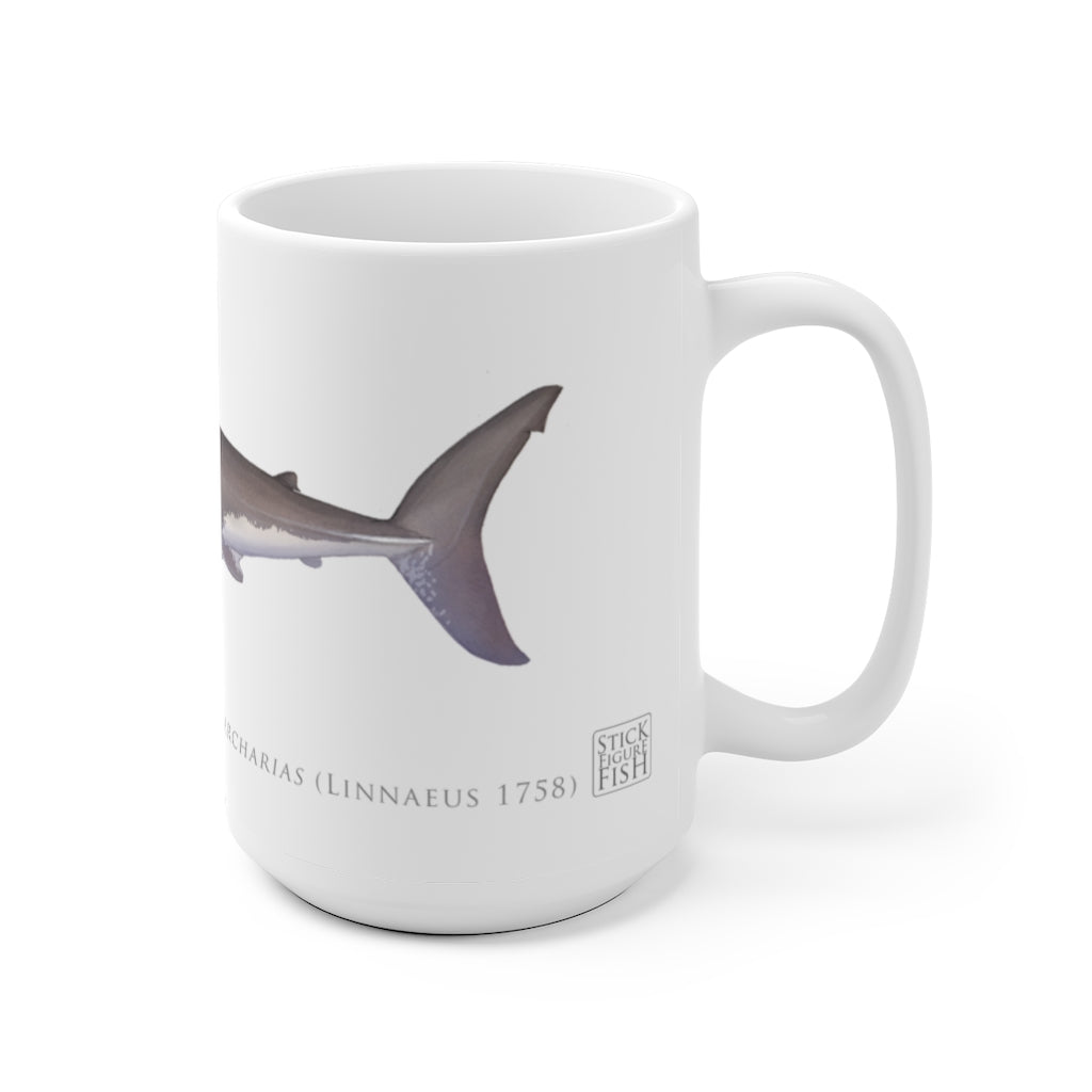 Great White Shark Mug - Stick Figure Fish Illustration