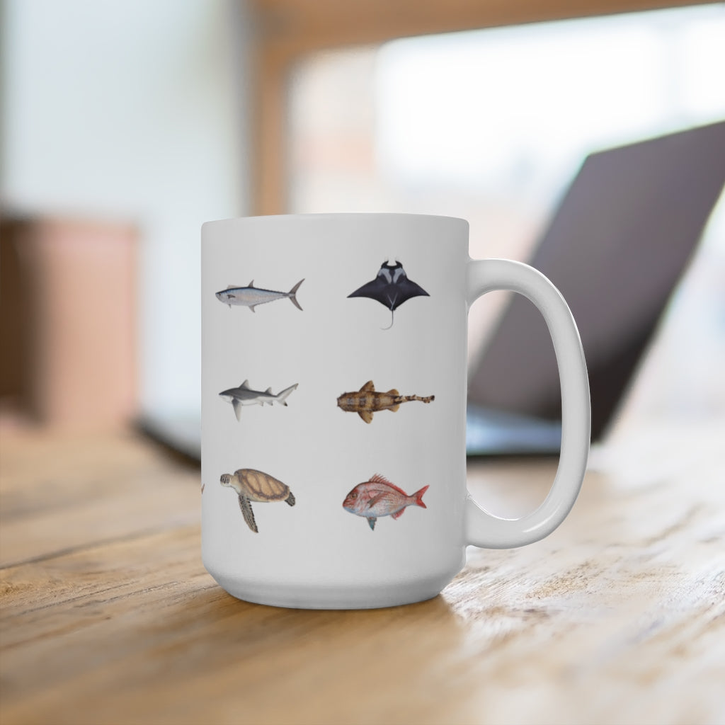 Everything Mug - Stick Figure Fish Illustration