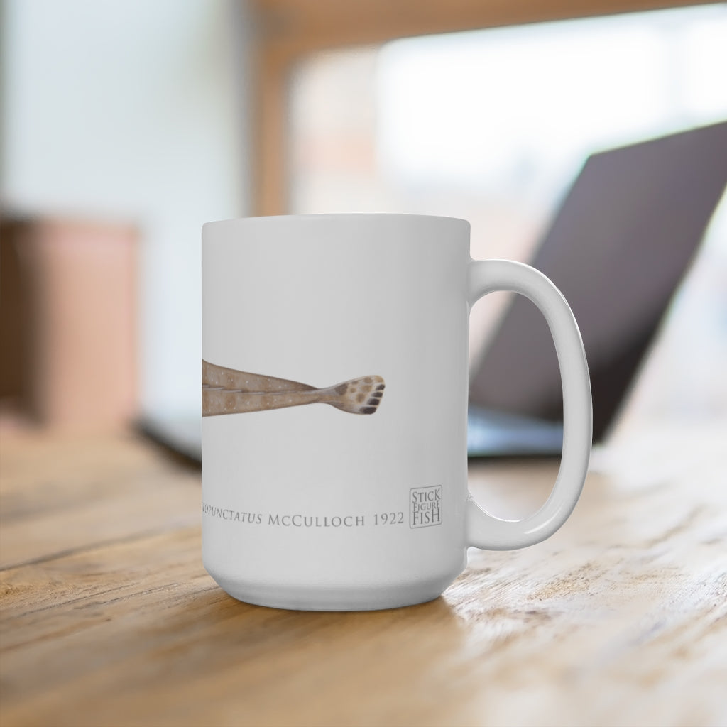 Bluespotted Flathead Mug - Stick Figure Fish Illustration