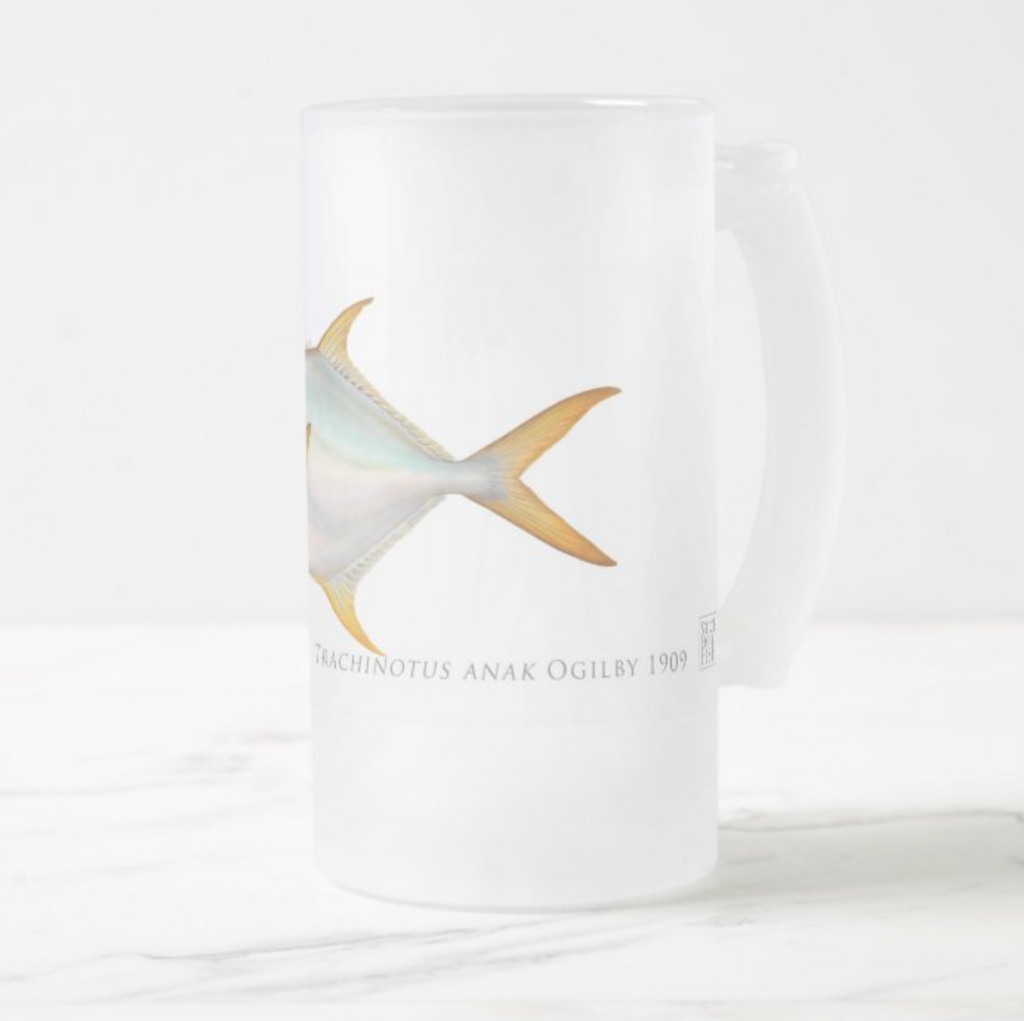 Giant Oystercracker (Permit) - Frosted Glass Stein - Stick Figure Fish Illustration