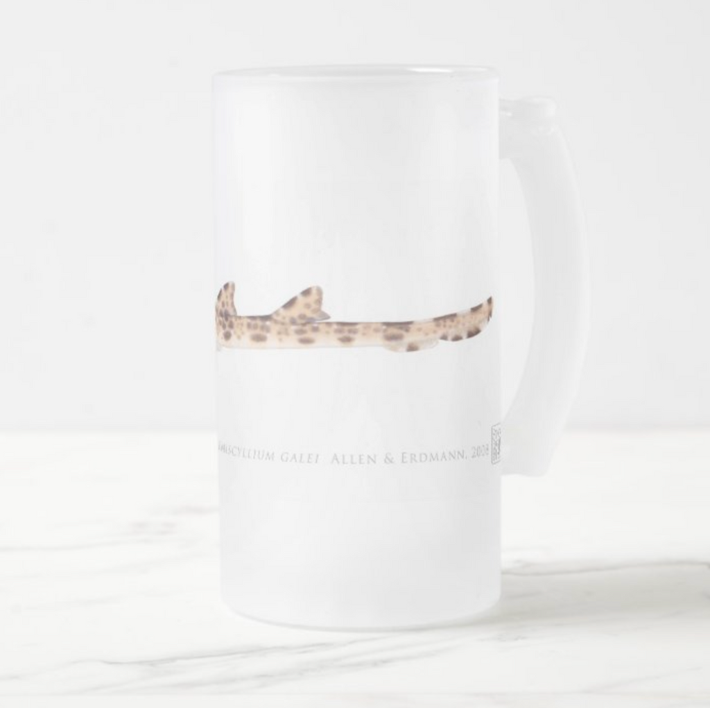 Cenderwasih Epaulette Shark - Frosted Glass Stein - Stick Figure Fish Illustration