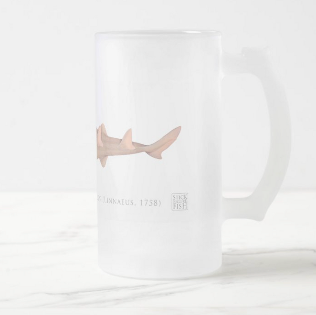 Common sawfish - Frosted Glass Stein - Stick Figure Fish Illustration
