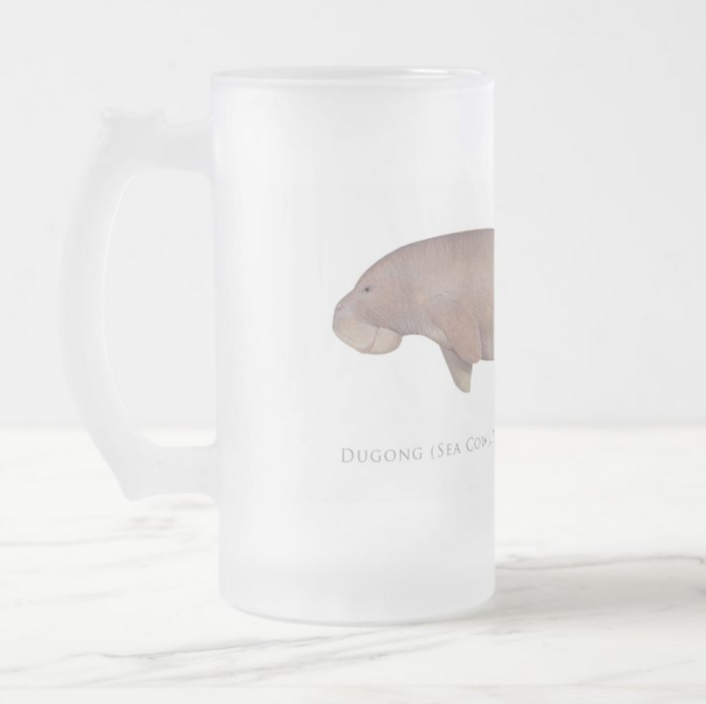 Dugong (Sea Cow) - Frosted Glass Stein - Stick Figure Fish Illustration