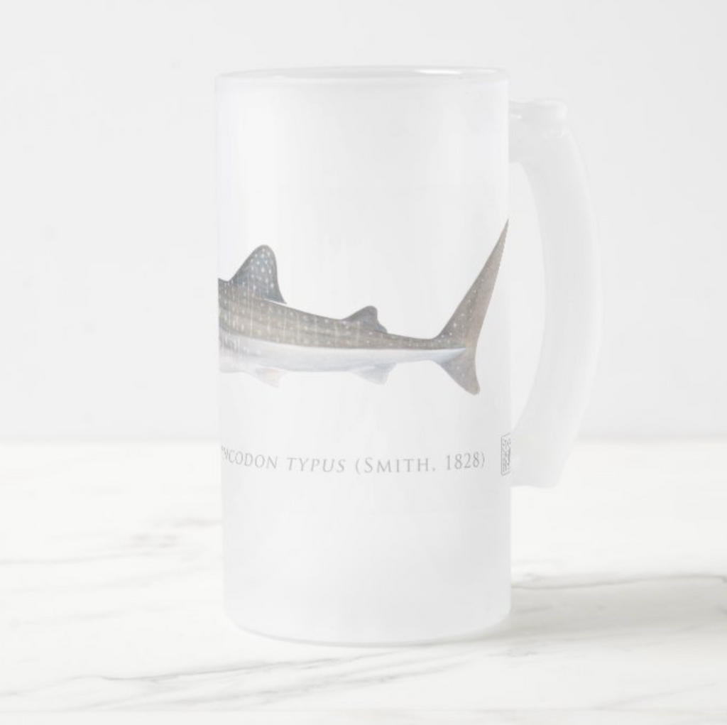Whale Shark - Frosted Glass Stein - Stick Figure Fish Illustration