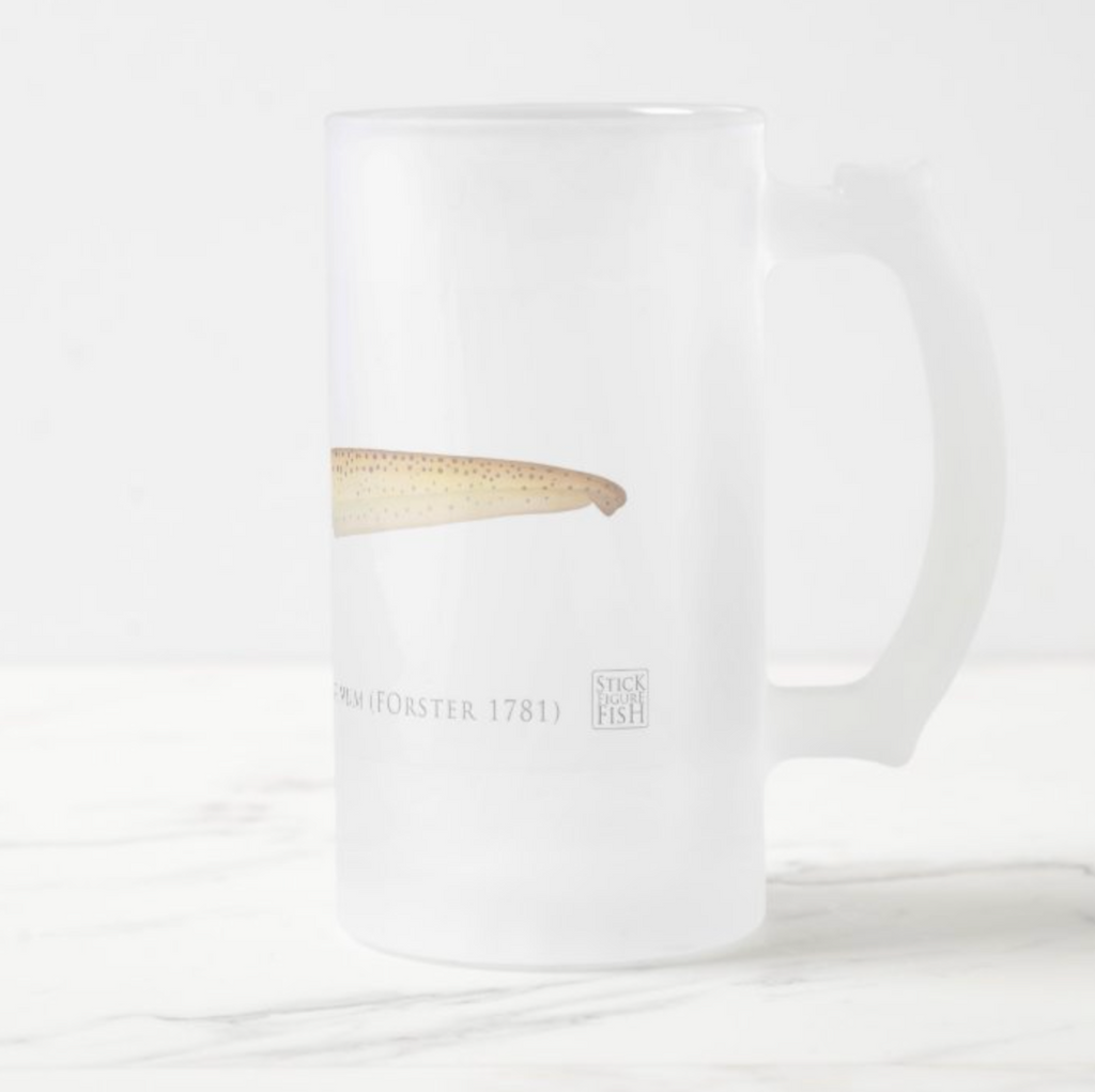 Zebra Shark - Frosted Glass Stein - Stick Figure Fish Illustration